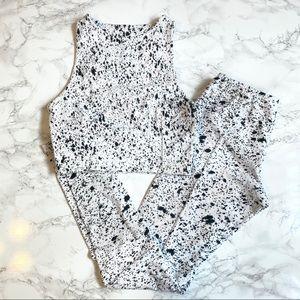 Indah Body Black & White Splatter Workout Set